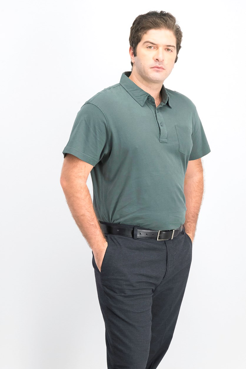 Men Short Sleeve Polo Shirts, Pond Pine Green