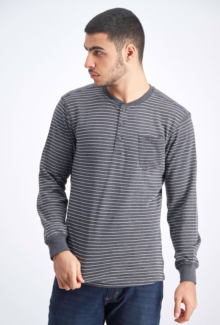 Men's Stripe Pullover Sweater, Dark Heather Grey