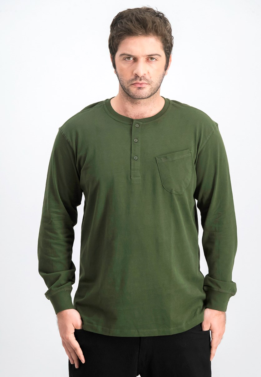 Men's Pullover Long Sleeves T-shirt, Kombu Green