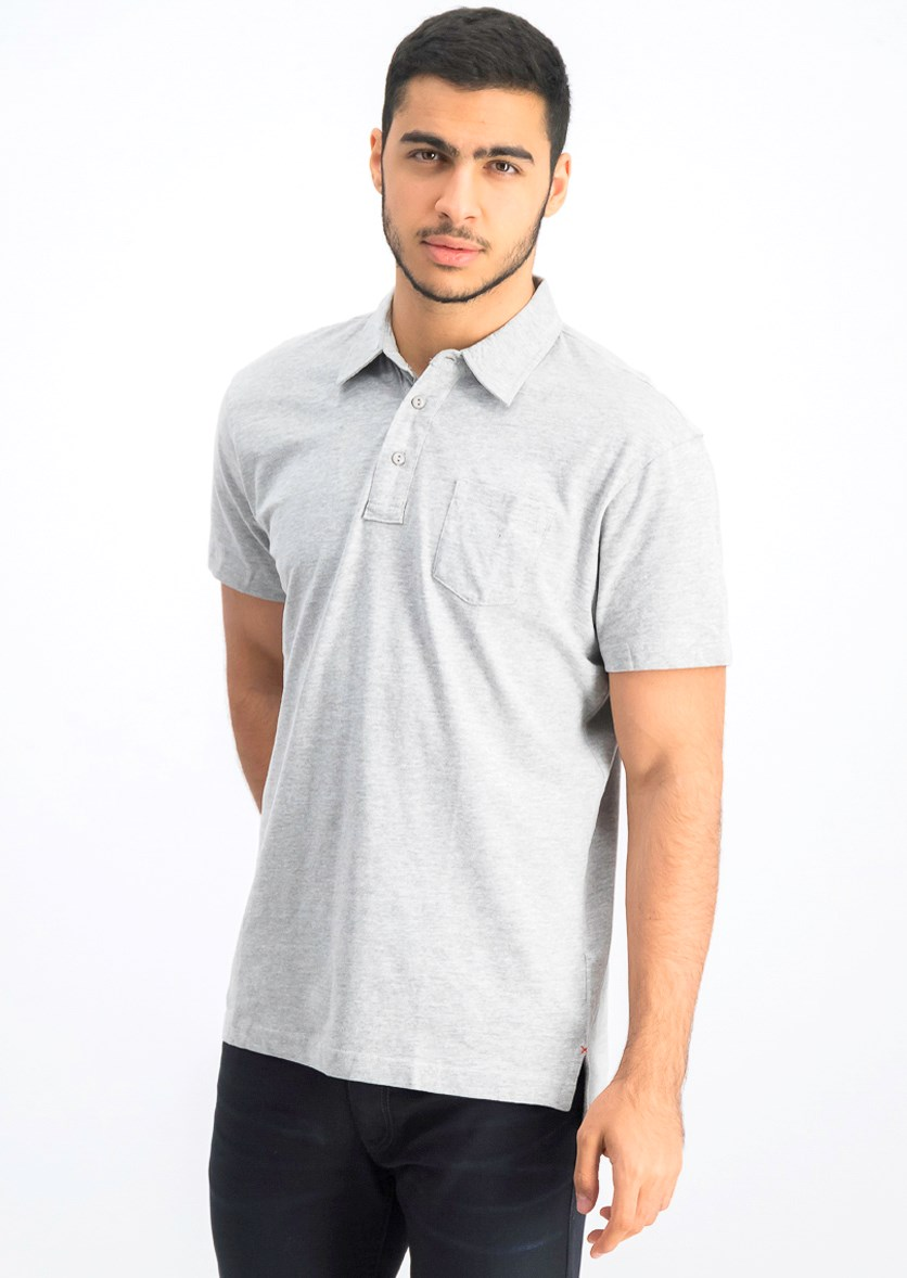 Men's Short Sleeve Polo Shirt, Heather Grey
