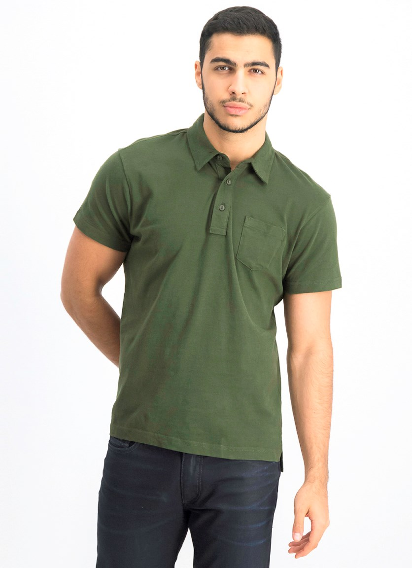 Men's Short Sleeve Polo Shirt, Kombu Green