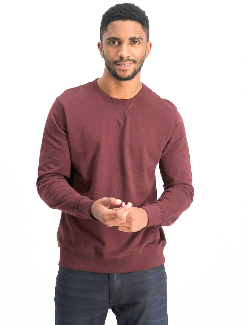 Men's Plain Crew Long Sleeve T-shirt, Maroon