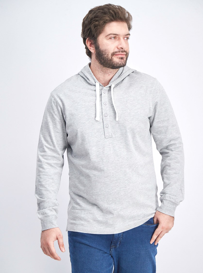 Men's Hooded Long Sleeves, Light Grey