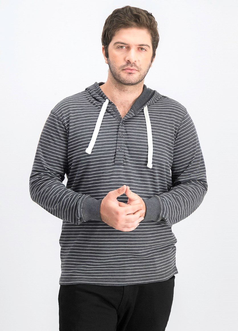 Men's Hooded Stripe Sweater, Dark Heather Grey