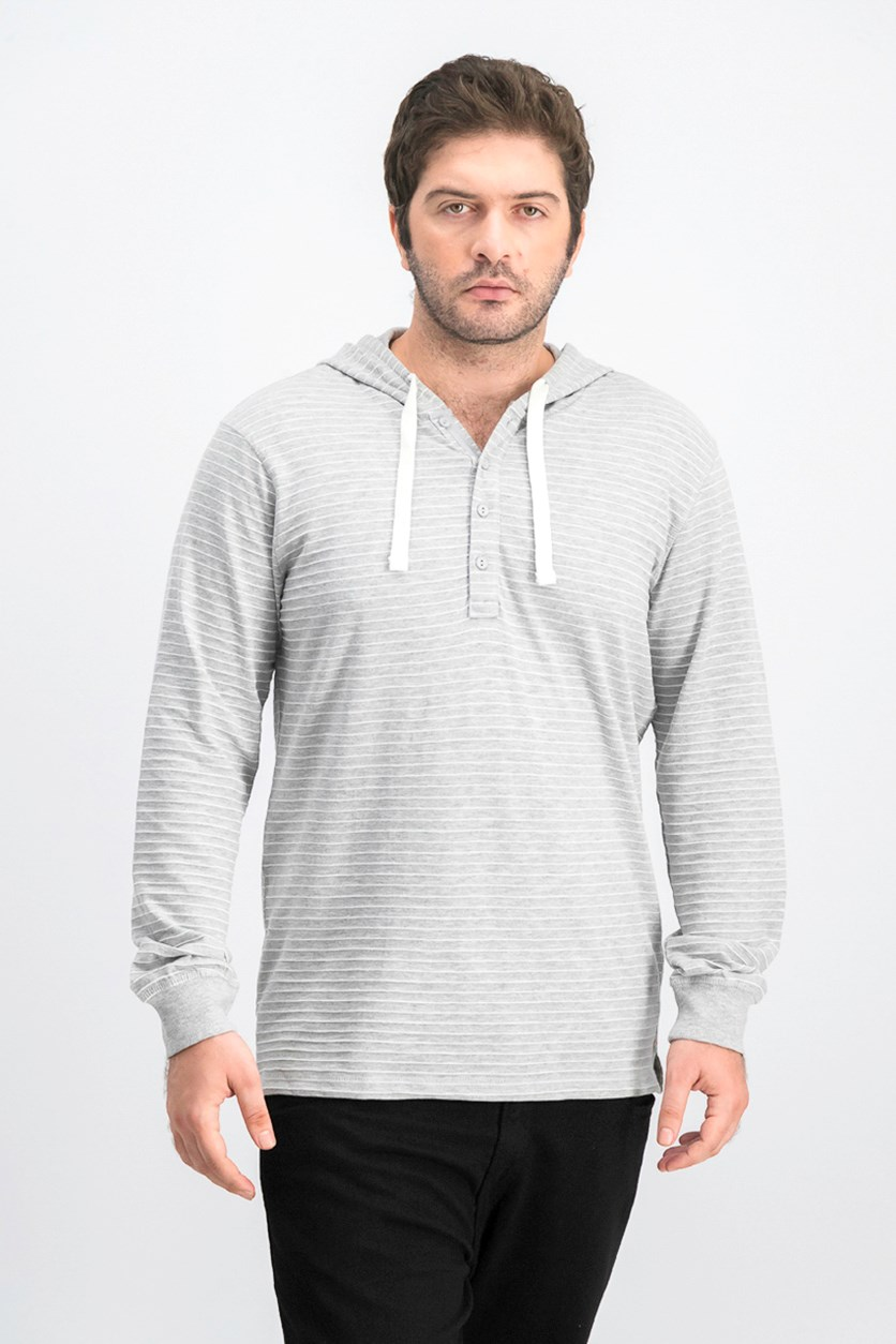 Men's Hooded Stripe Sweater, Light Heather Grey
