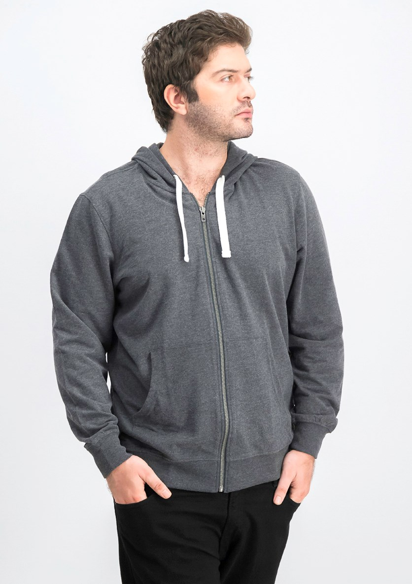 Men's Hooded Long Sleeves Sweater, Dark Grey
