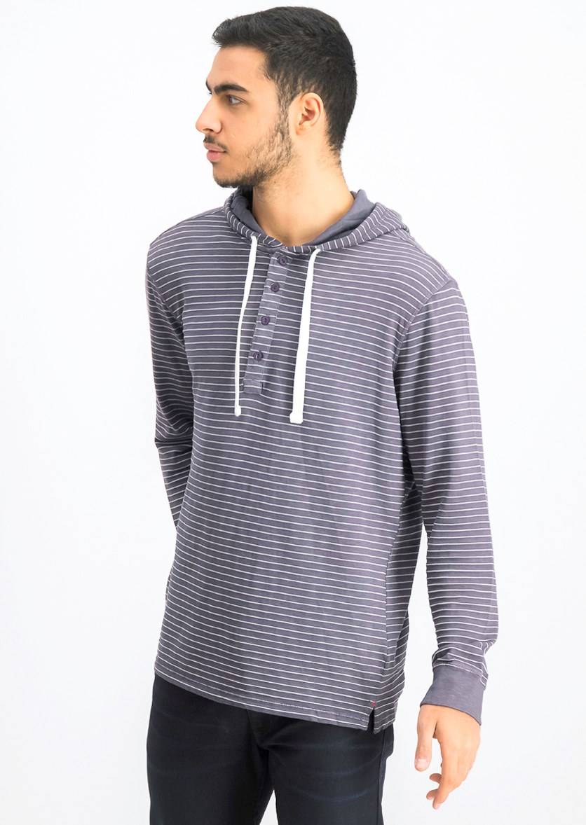 Men's Hooded Stripe Sweater, Sweet Grapes