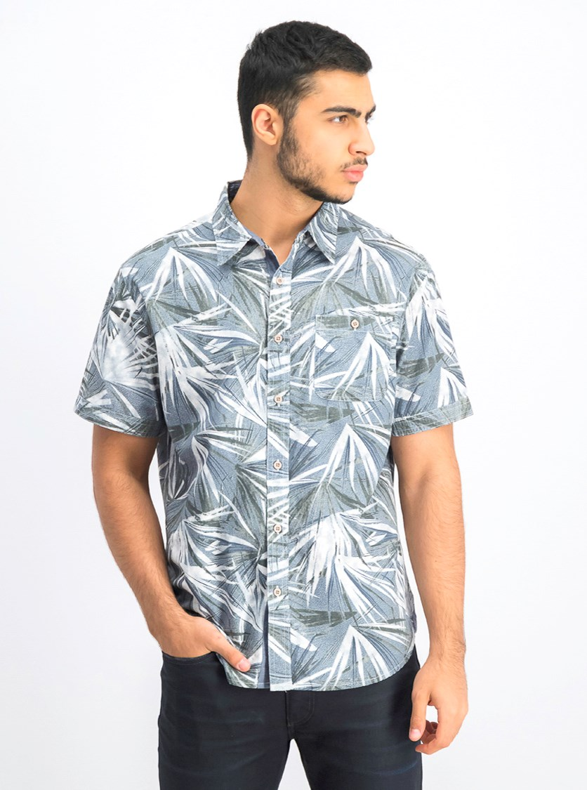 Men's Printed Button Down Shirt, Grey Combo