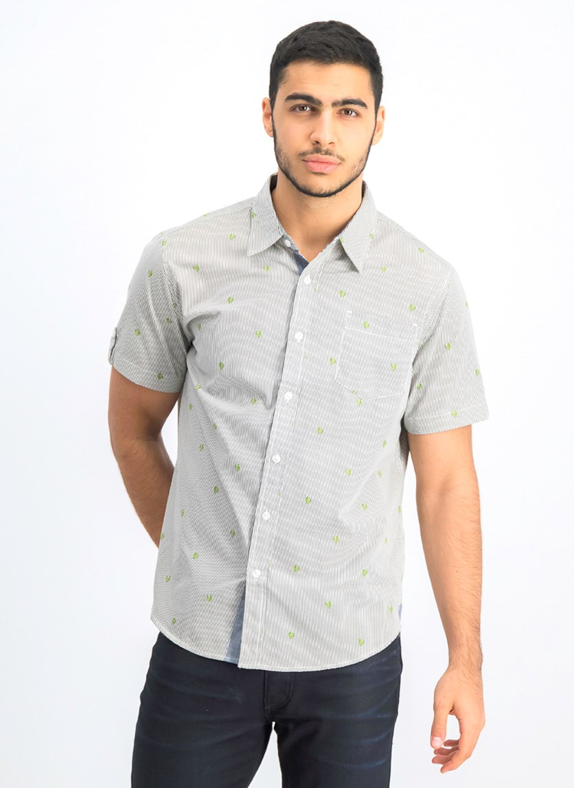 Men's Printed Stripe Button Down Shirt, White Combo