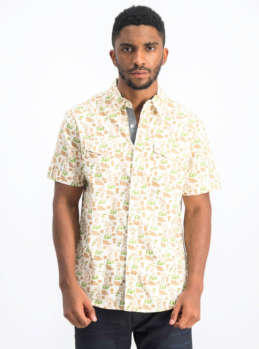 Men's Allover Print Shirt, White Combo