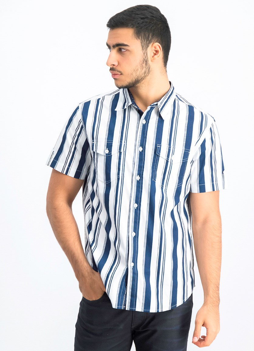 Men's Stripe Shirt, White/Navy