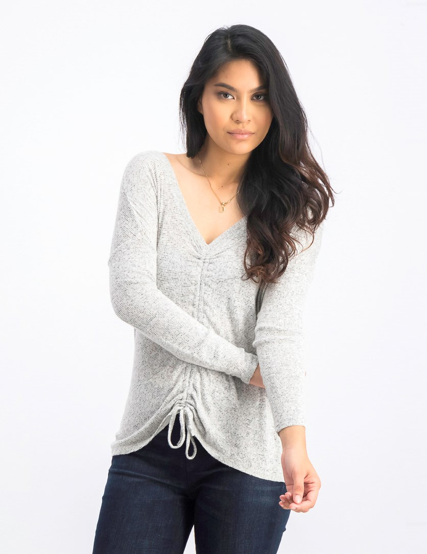 Juniors' Ruched Top, Grey