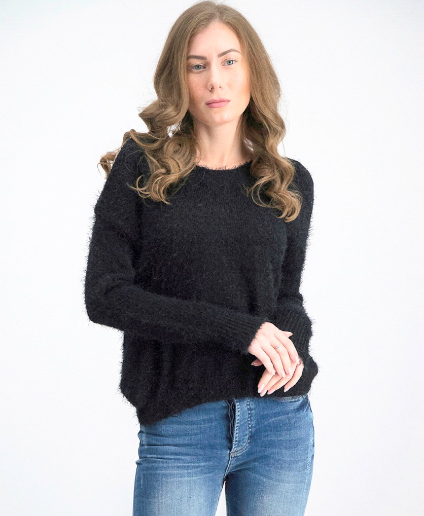 Women Cold Shoulder Sweater, Black