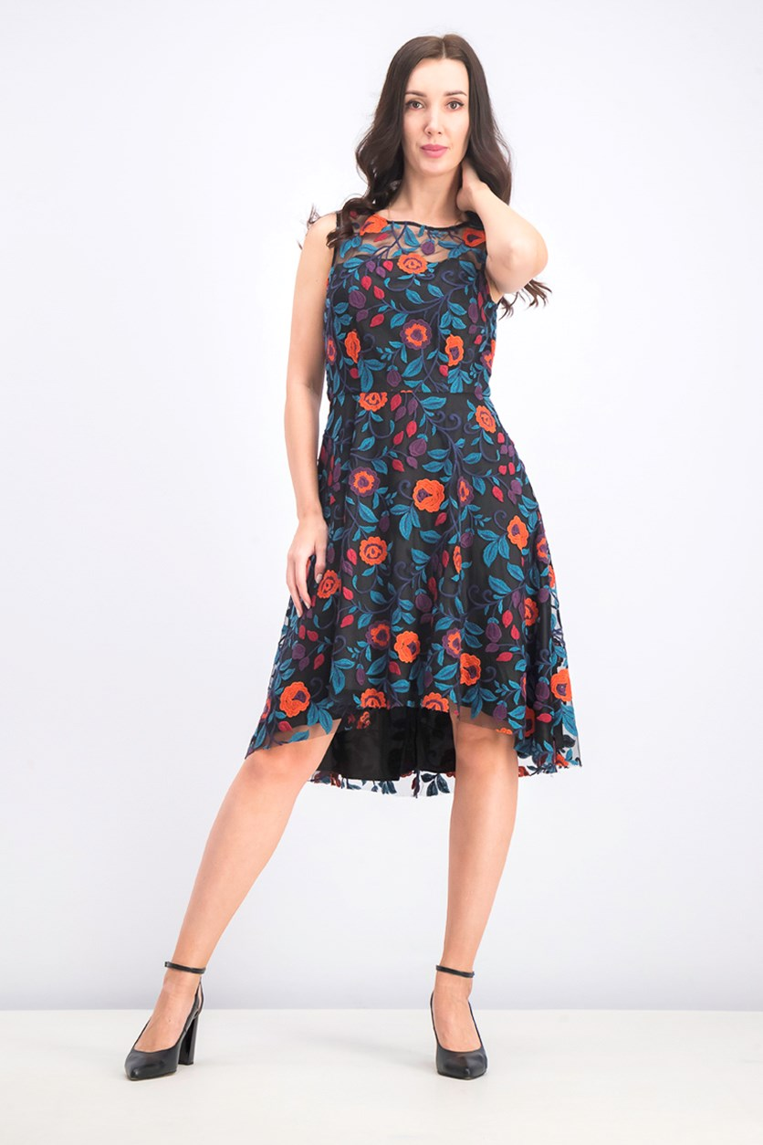 Women's Floral-Print Sleeveless Embroidered Dress, Black Combo
