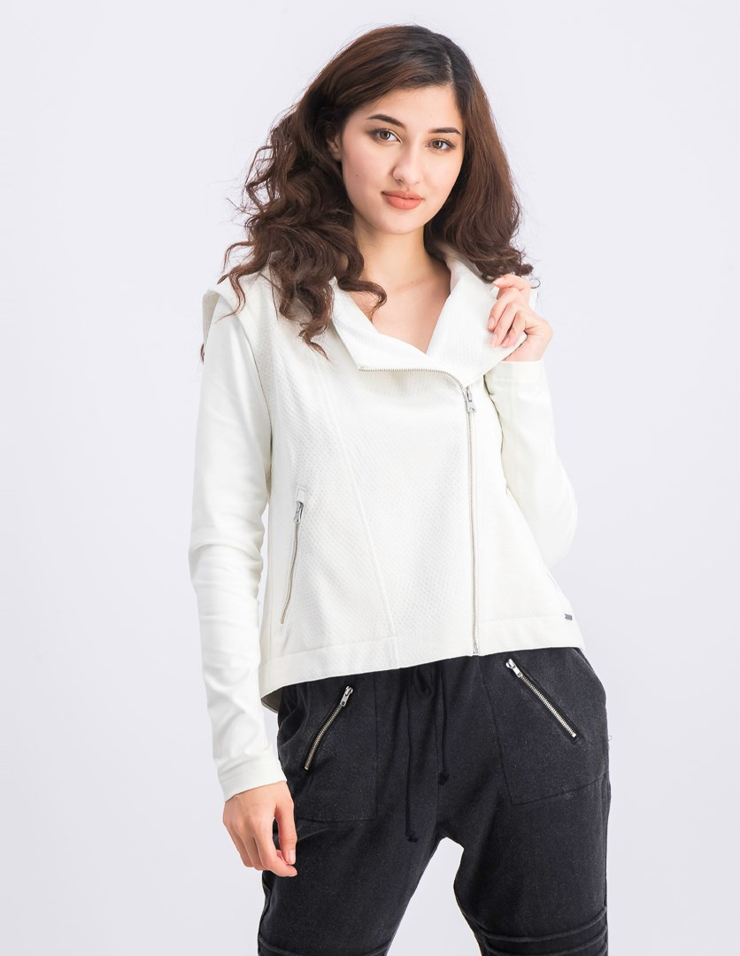 Women's Hooded Running Jacket, Off White Heather