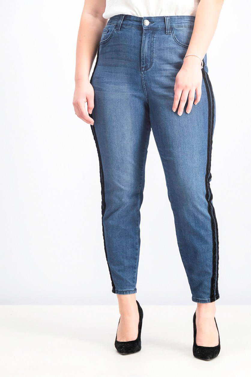 Plus Size Denim Contrast Trim Skinny Jeans, Bennetton