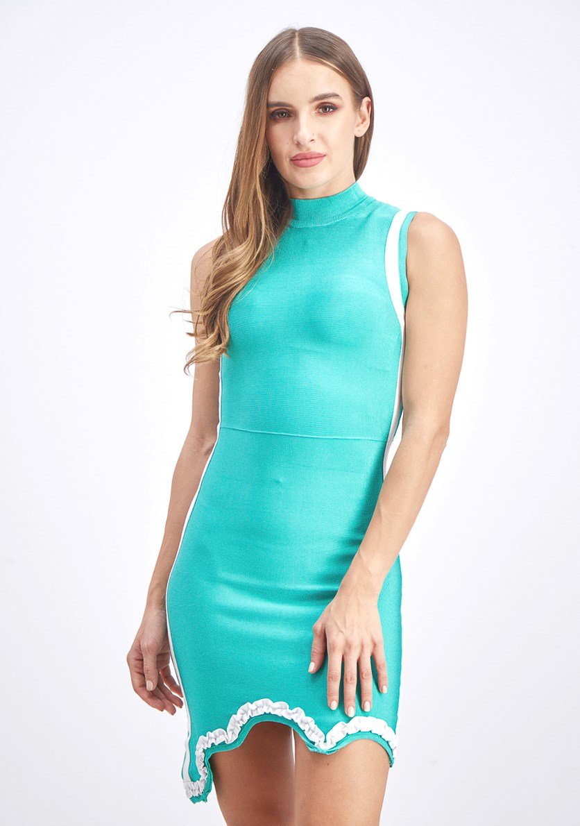Women's Scallop Bandage Dress, Turquoise