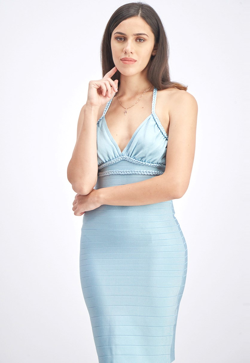 Women's Halter Braided Bandage Dress, Stratosphere