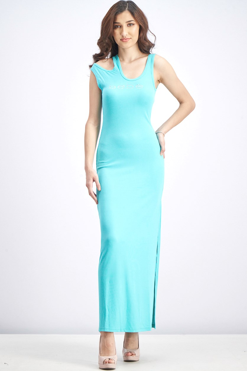 Women's Asymmetric Cutout Midi Dress, Turquoise