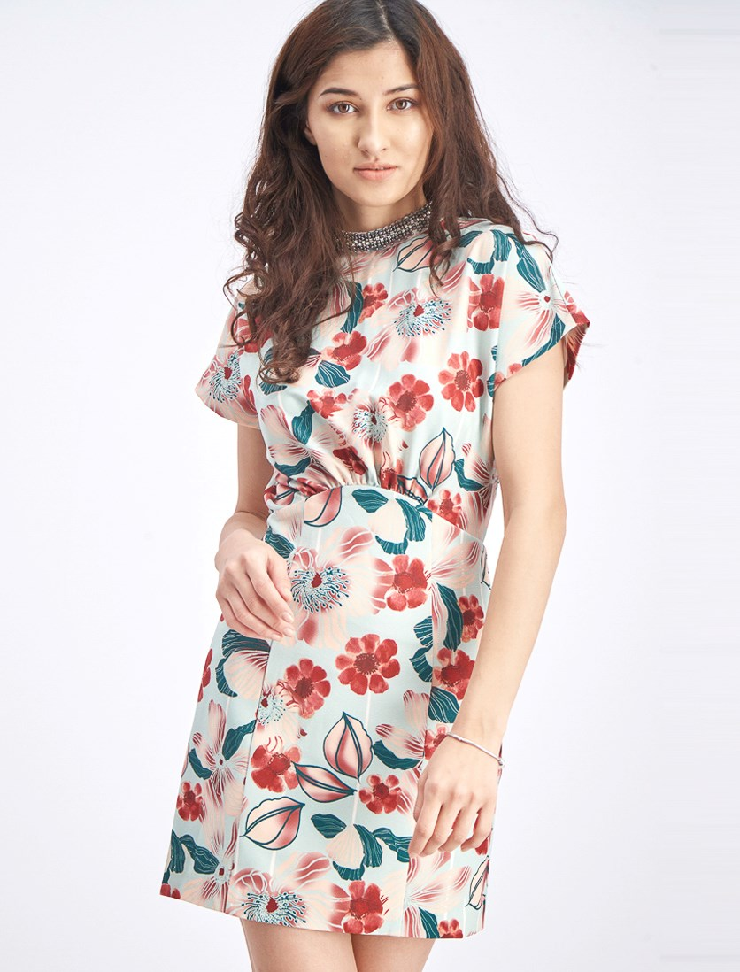 Women's Printed Flutter Sleeve Dress, Mint Green/Red