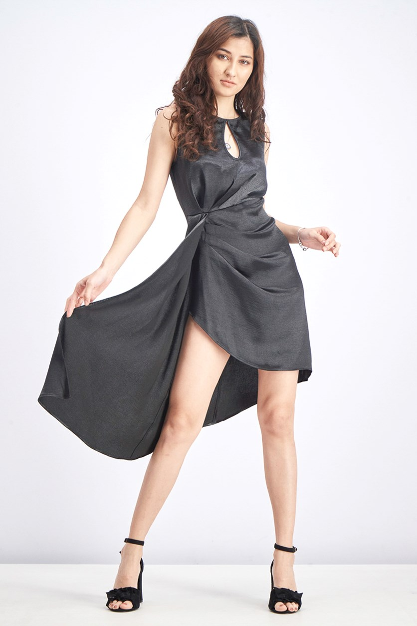 Women's Hammered Satin Asymmetrical Dress, Black