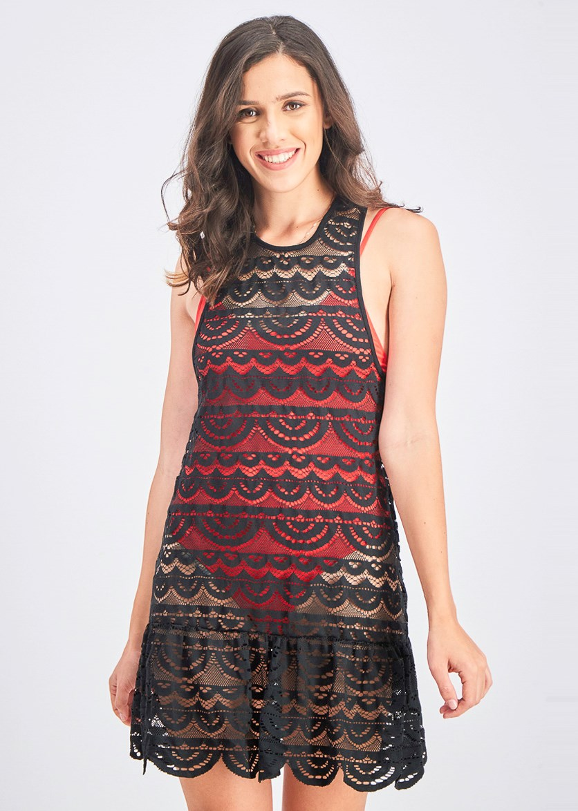Women's Crochet Drop-Waist Beachwear Dress, Black