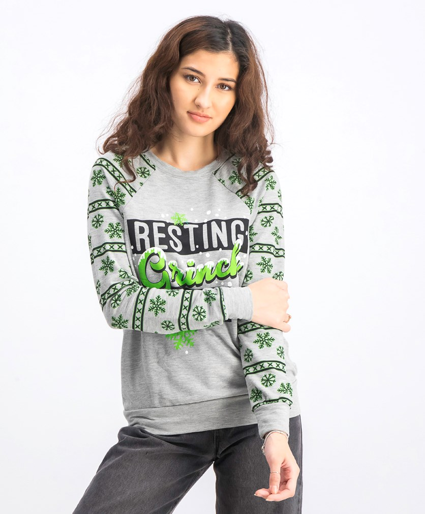 Women Grinch Graphic Sweatshirt, Grey