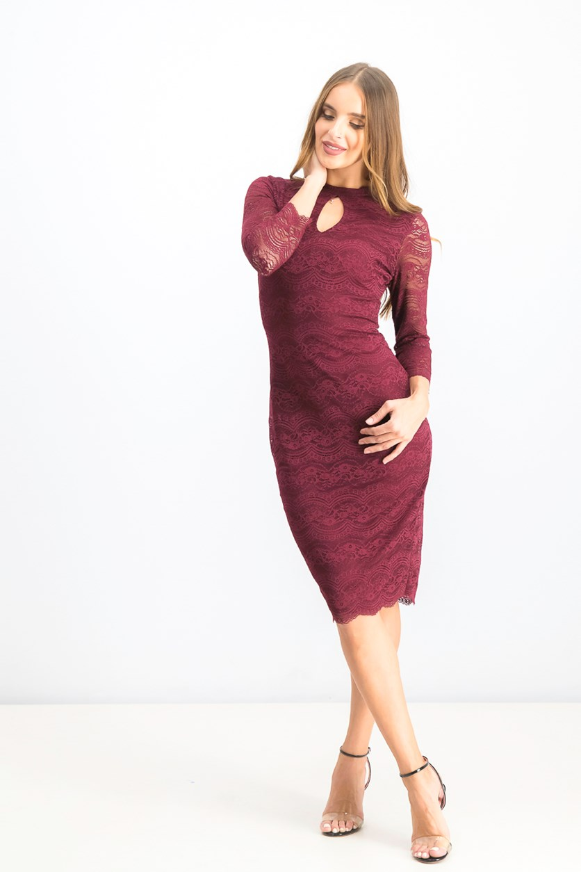 Women's Midi Lace Dress, Burgundy