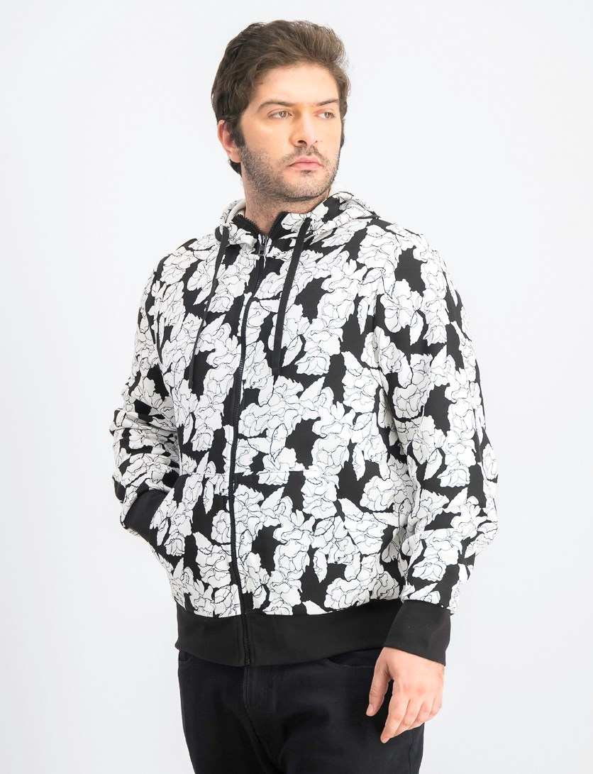 Men's Floral Graphic Hoodie, Black/White