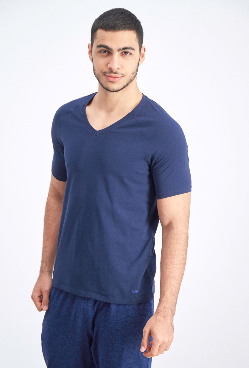 Men's 2-Piece Cotton V-Neck Undershirt, Navy/Gray