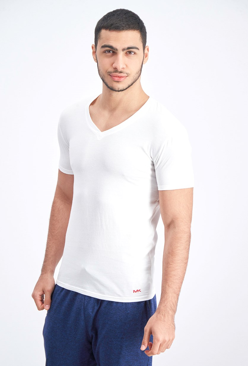 Men's 3-Piece Cotton V-Neck T-Shirt, White