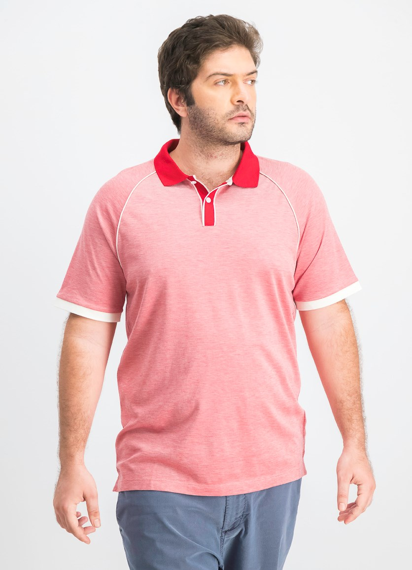 Men's Jaquard Contrast Polo, Red