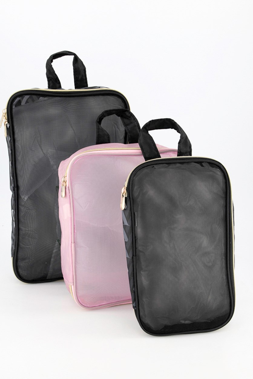 Travel Pouches Set Of 3, Black/Gray/Pink