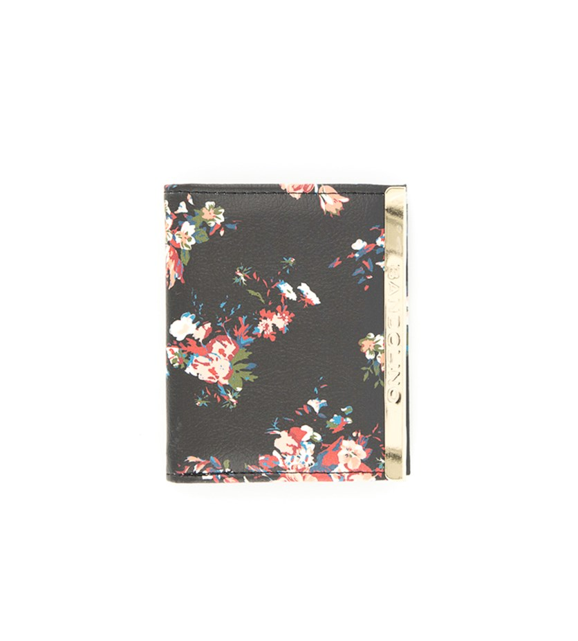 Women's  Snap Card Floral Wallet, Black/Pink