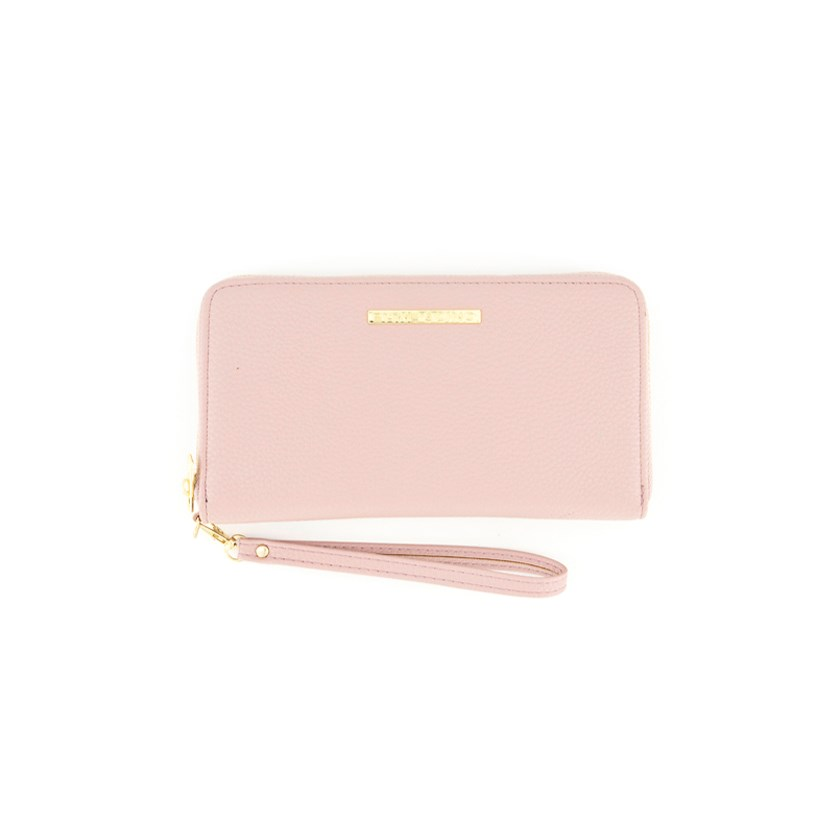 Women's Wrist Zip Around Wallet, Light Coral