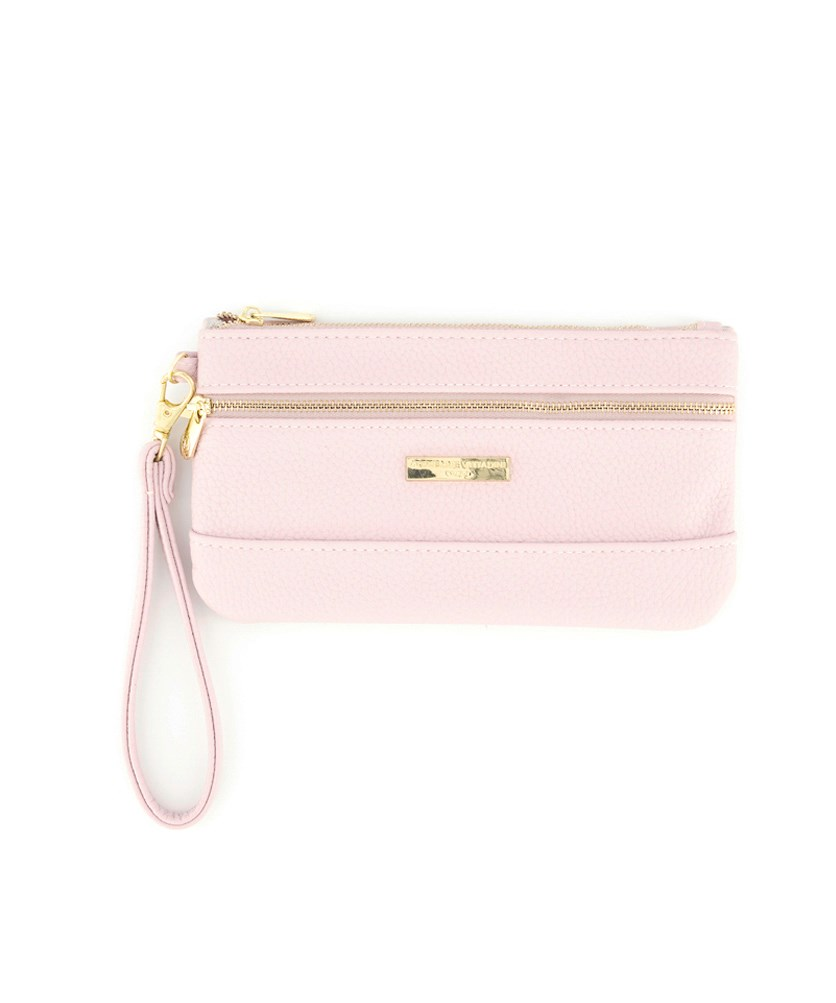 Women's Two Zip Pocket Wristlet, Blush