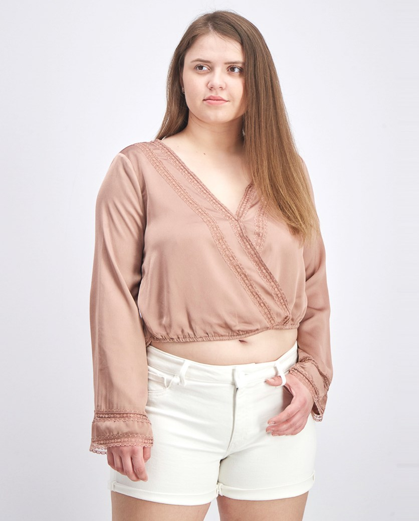 Women Lace & Satin Surplice Top, Mauve Pale