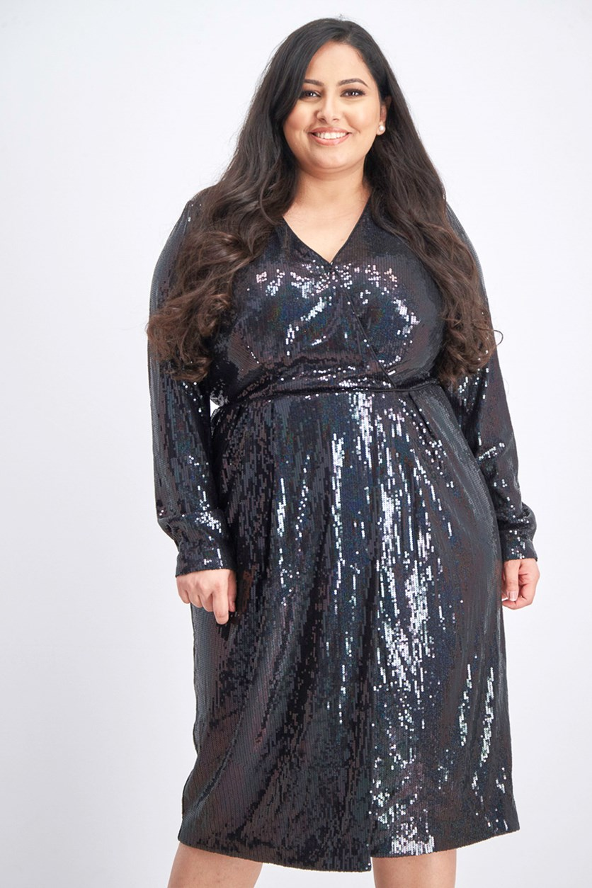 Women's Plus Sequined Surplice Cocktail Dress, Black