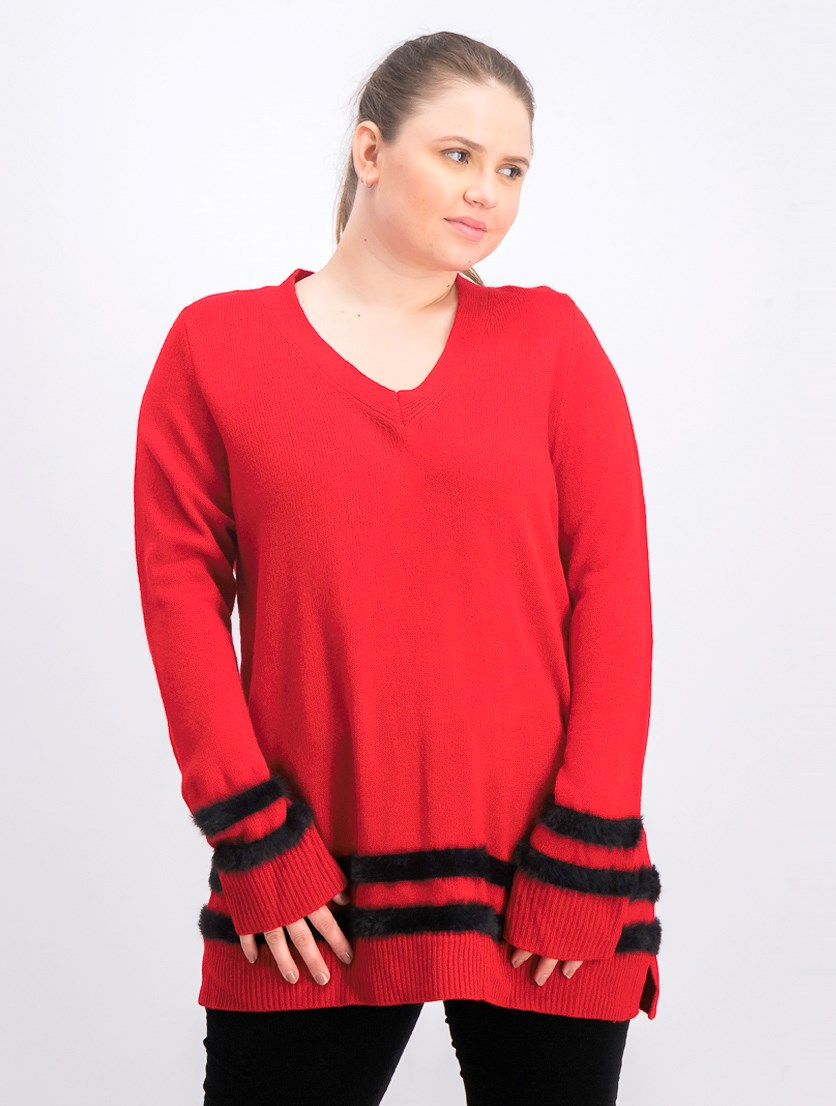 Women's Faux Fur Striped V-Neck Sweater, Red