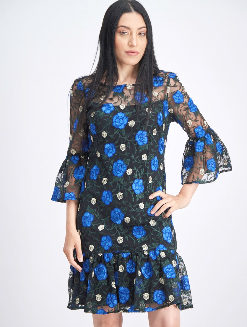 Women's Floral-Embroidered Bell-Sleeve Dress, Black Combo