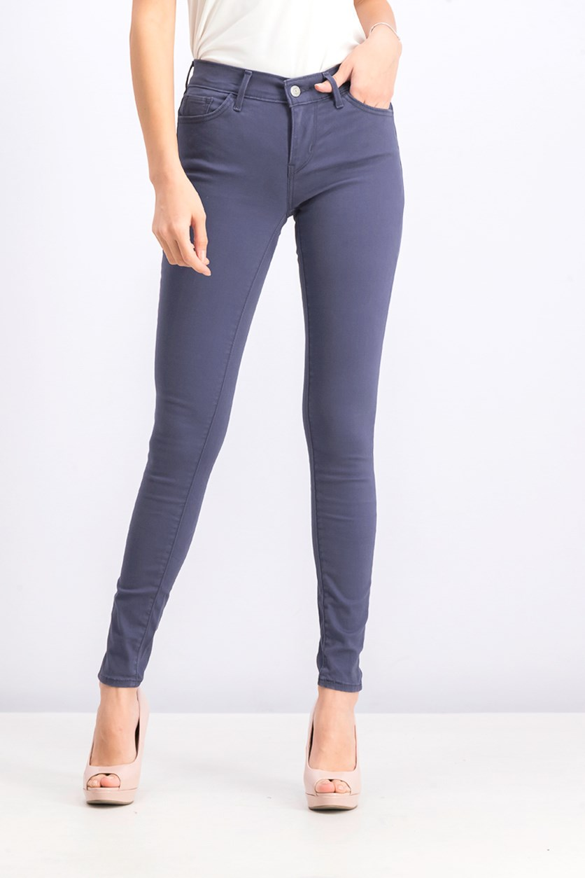 Women's Super Skinny Colored Pants, Ash Blue