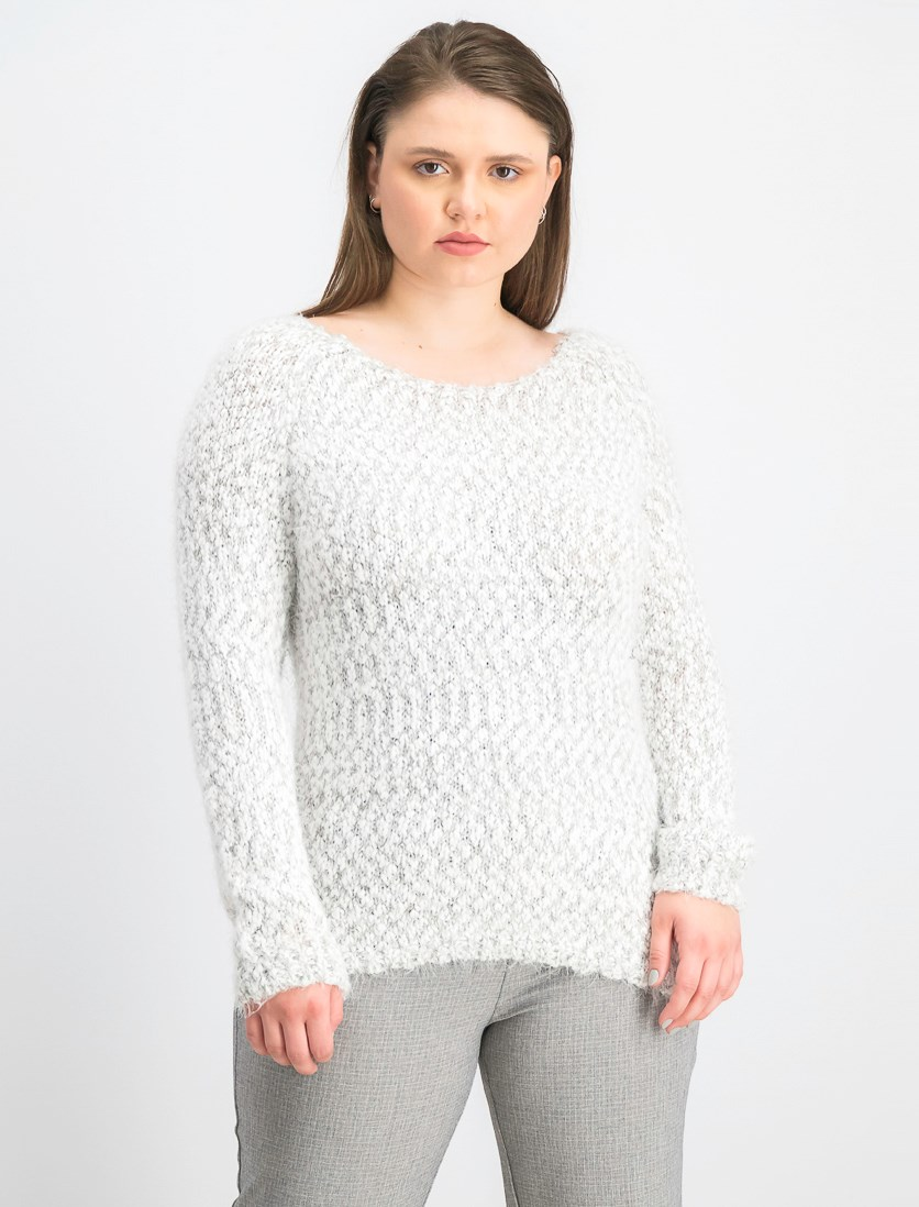 Women's Textured Sweater, White