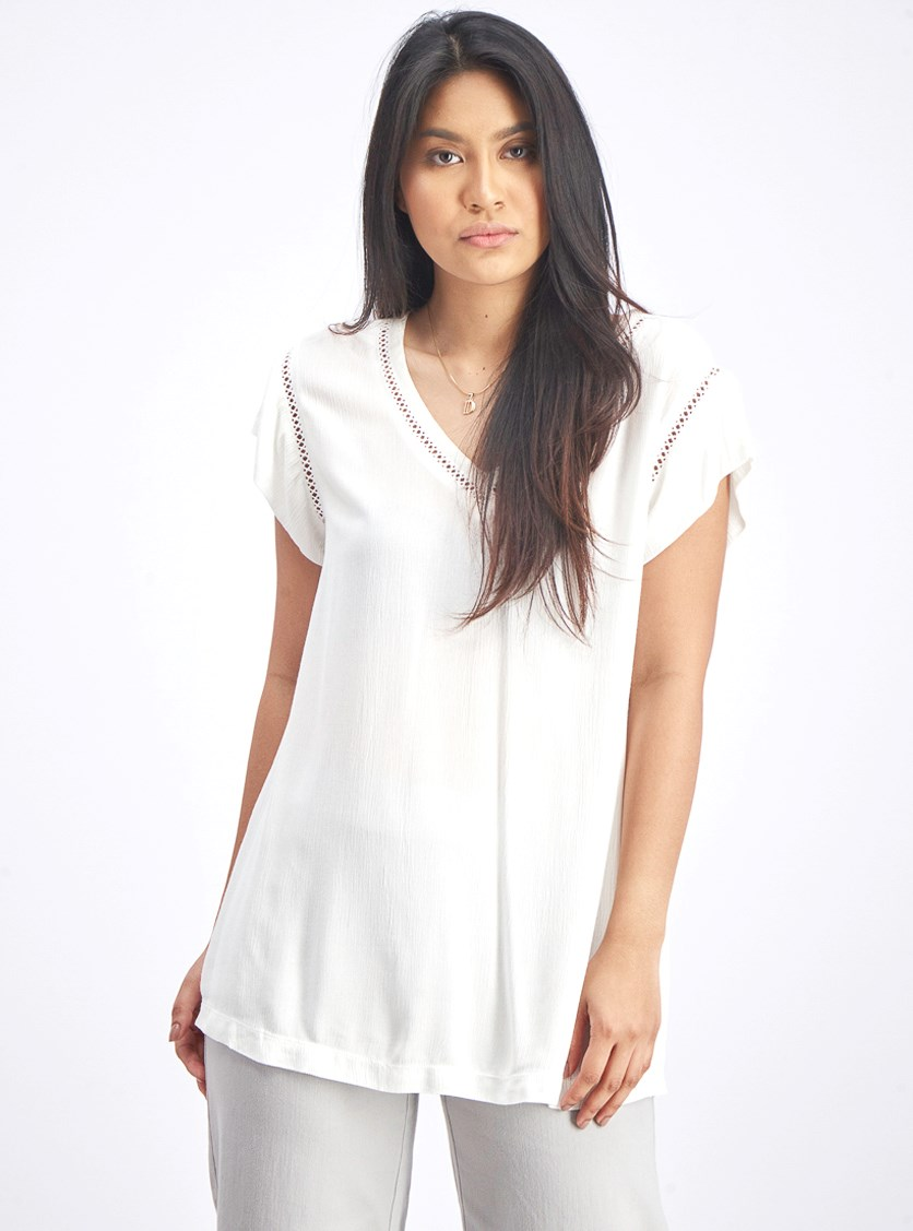 Women's Textured Tops, White