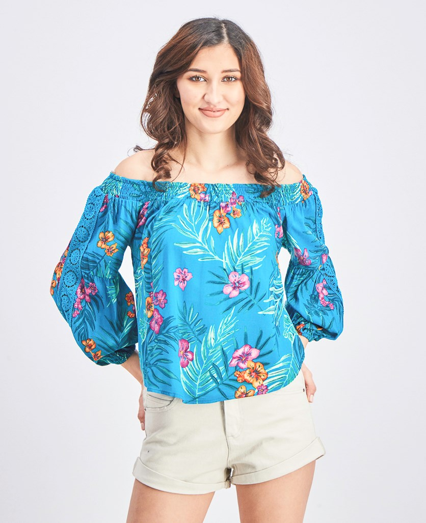 Women's Off Shoulder Floral Print, Turquoise/Lava