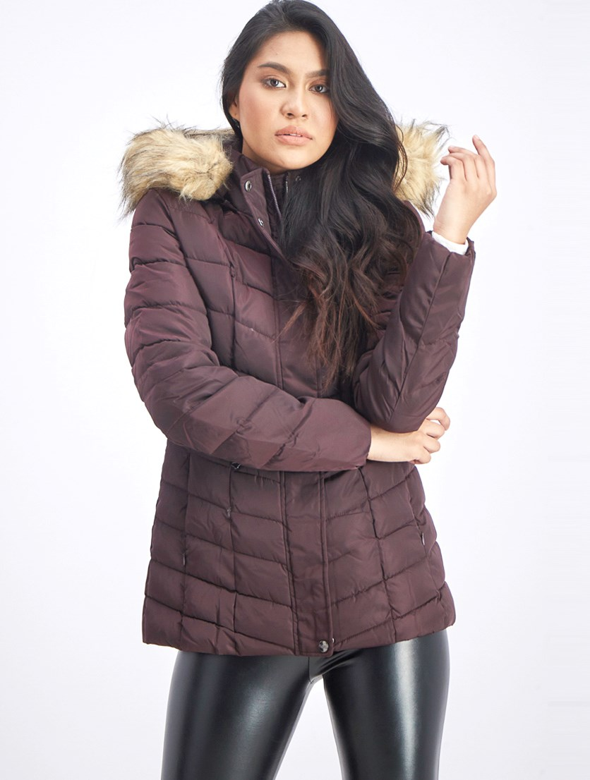 Women's Quilted Fur Trim Puffer Jacket, Fig