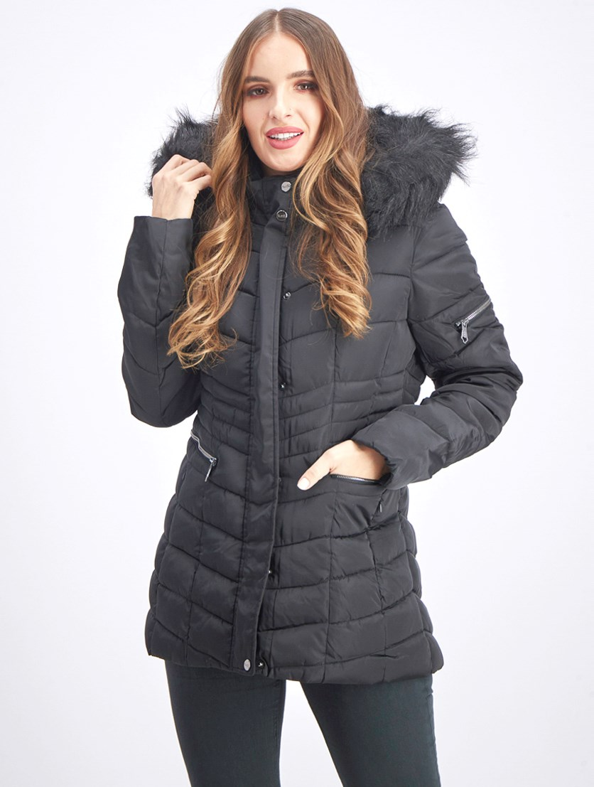 Women's Quilted Fur Trim Puffer Jacket, Black