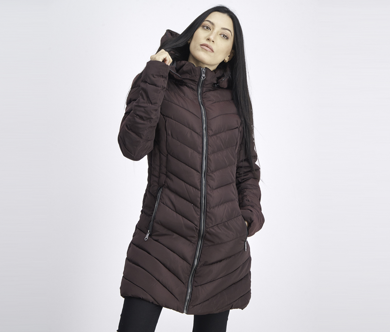 Women's Quilted Hooded Puffer Jacket, Fig