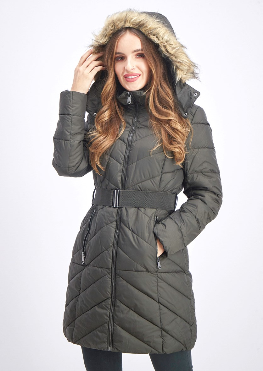 Women's Belted Faux Fur Hooded Puffer Coat, Olive