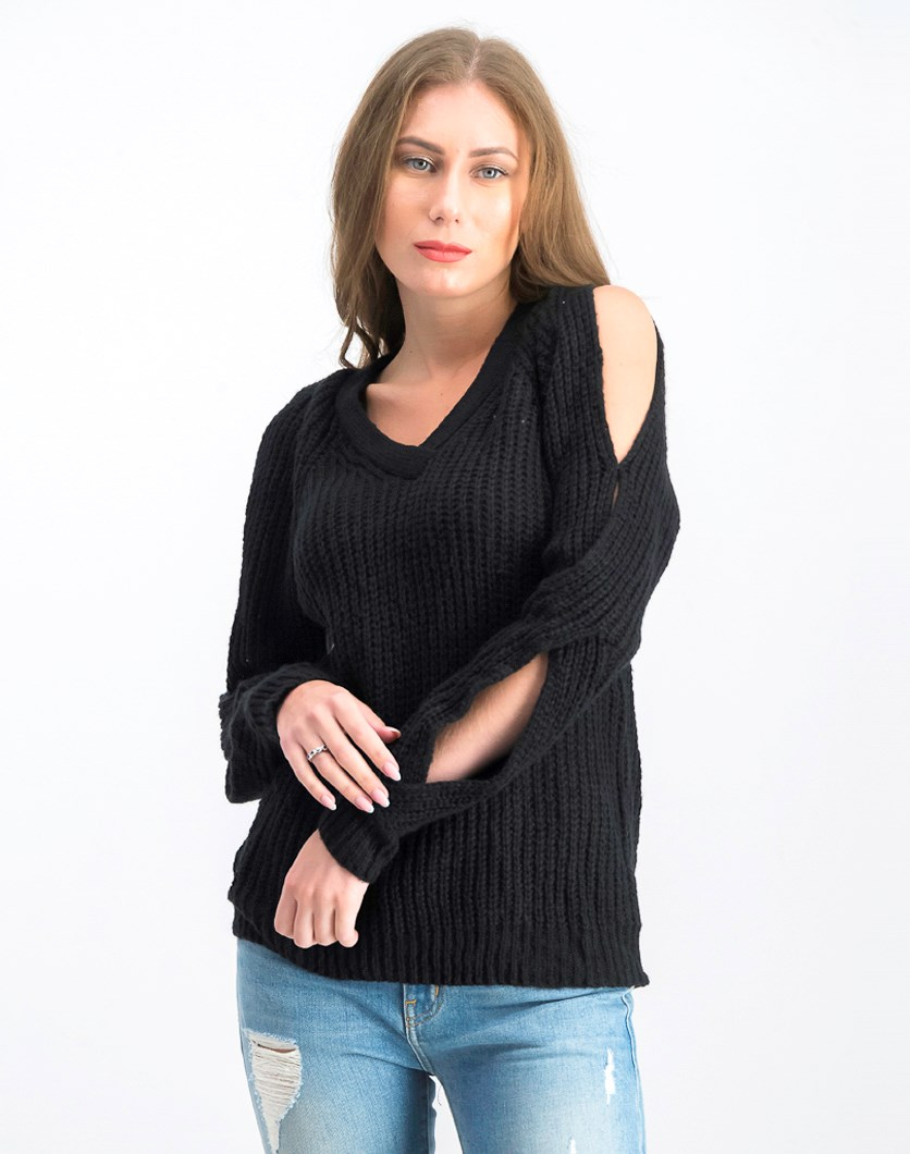 Juniors' V-Neck Twisted Long-Sleeve Sweater, Black