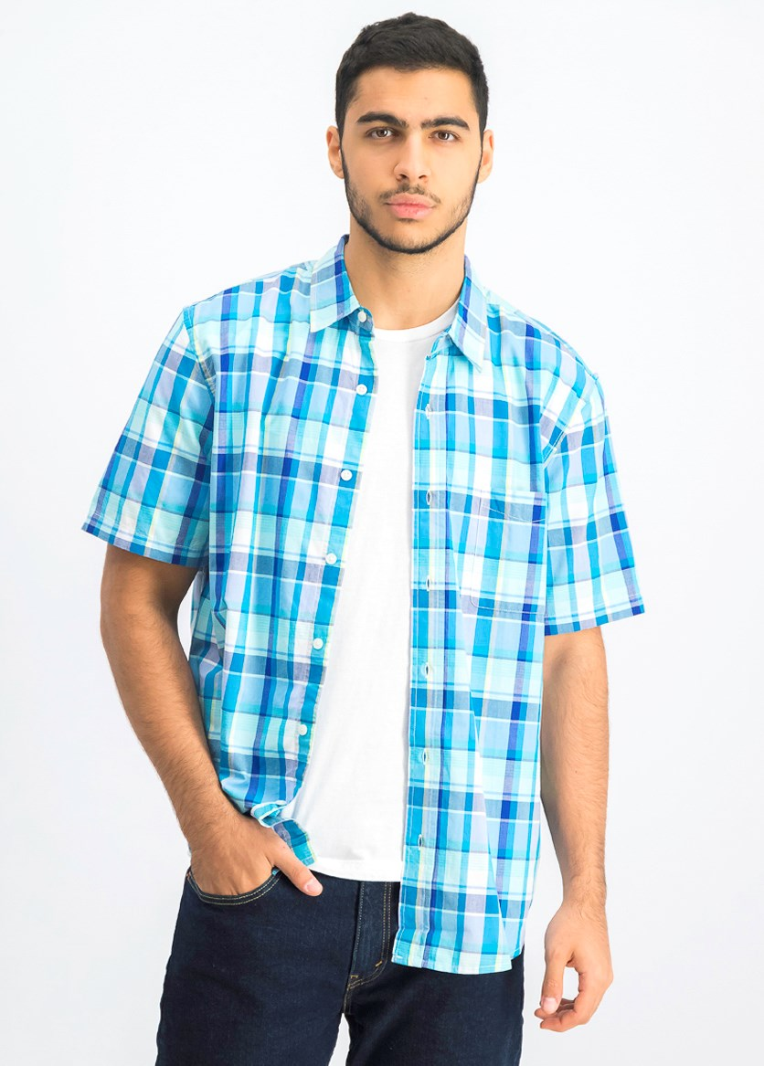 Men's Short Sleeve Plaid Casual Shirt, Mellow Aqua